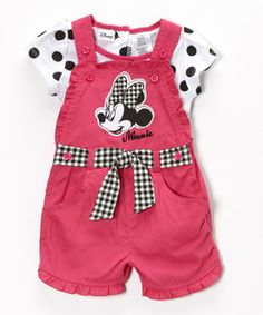 Look at this #zulilyfind! Minnie's Bow-Tique Pink Polka Dot Minnie Mouse Tee & Shortalls - Toddler & Girls by Minnie's Bow-Tique #zulilyfinds