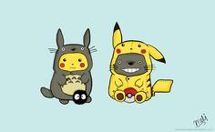 ✝☮✿★ KAWAII ✝☯★☮ Totoro and Pikachu Onesies by melissahooper on deviantART