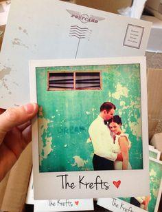 Polaroid style thank you postcards. Such a brilliant idea for a vintage themed wedding! #thankyoucard #vintagewedding #weddingstationary