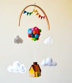mobile-flitzkugeln-farbig-haus-watte-wolken-watte Baby Mobile, Baby Presents, Baby Room Design, Maybe One Day, Ask For Help, Disney Diy, Disney Films, Mobiles, Projects To Try