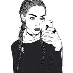 Recently shared chicas tumbrl fotos dibujadas blanco y negro ideas Tumblr Girl Drawing, Tumblr Drawings, Tumblr Art, Tumblr Girls, Png Tumblr, Outline Drawings, Cool Drawings, Drawing Sketches, Tumblr Hipster