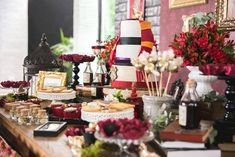 Side-view of the main table from a Harry Potter Birthday Party via Kara's Party Ideas | KarasPartyIdeas.com (35)