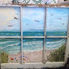 """New painted window for sale at Beach House Consignments in Emerald Isle NC. New works to be """"on the easel"""" after the of January. Old Windows Painted, Painted Window Panes, Painting On Glass Windows, Antique Windows, Fake Windows, Antique Doors, Old Window Art, Window Pane Art, Window Frames"""