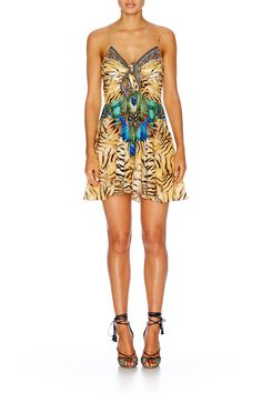 ROAR OF THE WILD SHORT DRESS W/ TIE FRONT - Dresses - Shop | CAMILLA