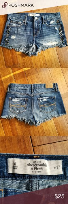 A&F Studded Denim Shorts Uniquely studded Abercrombie denim cut-off shorts. Washed once, but never worn. Abercrombie & Fitch Shorts Jean Shorts