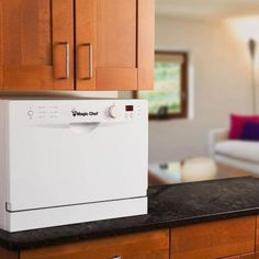 Magic Chef Countertop Portable Dishwasher In White With 6 Place Settings  Capacity