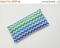 SALE  Blue green chevron Aromatherapy Eye Pillow  by Laa766  relaxation / relieve tension and stress / relax your eyes / lavender scented or unscented
