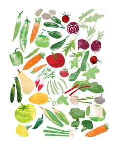 Fruits and Vegetables Prints Set of 2 8 x 10 by redcruiser, in a kitchen so cute