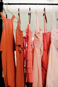 Orange. coral. pink. bridesmaids dresses