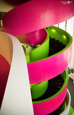 Pink and Green Spiral Stairs Interior Stairs, Interior Exterior, Interior Design, Beautiful Stairs, Take The Stairs, Stair Steps, Stairway To Heaven, Staircase Design, Stair Design