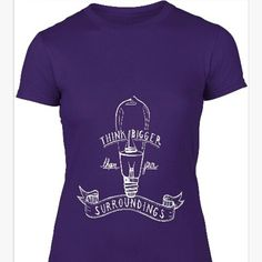 #Ladies #think #bigger #summer #tee from each purchase we donate £4 to the #BritishRedCross who are helping the victims of the #Nepalearthquake #SocialEnterprise #purple #white #positivity #positivequotes #othersmatter #makingadifference #worldwide #inspire #giving #charity #motivation #motivationalquotes