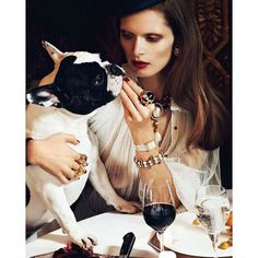 Girl's best friend meets man's best friend. #diamonds #dogs #finejewelry #MalgosiaBela #LachlanBailey