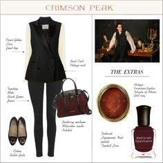 Indulge Your Dark Side with Crimson Peak : Contest Entry by coolchick1630 on Polyvore featuring Oasis, Racil, Topshop, CÉLINE, Burberry, Deborah Lippmann and vintage