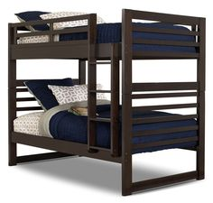 Have your little one greet every day surrounded by the fresh, timeless style of this Chadwick twin bunk bed. Espresso bookmatch wood veneers add symmetry to the subtle design elements on this furniture piece. Rubberwood and plywood work together to ensure durability and longevity for as long as your child needs this sleep space. Enjoy the understated splendour this Chadwick bed delivers.