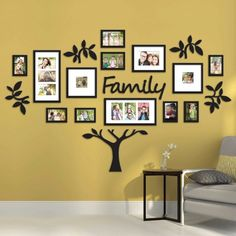 I'm pretty sure Bed Bath & Beyond carries this: Hallway Family Tree Collage Picture Photo Wall Art Large Wedding Frame Decor Family Tree Frame, Family Wall, Family Trees, Family Room, Display Family Photos, Family Pictures, Picture Wall, Photo Wall Art, Picture Photo