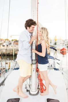 Sailboat e-sesh: http://www.stylemepretty.com/massachusetts-weddings/2015/07/24/dreamy-nautical-engagement-session-in-rockport/   Photography: Sarah Jayne - http://bysarahjayne.com/