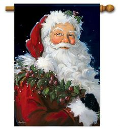 Check out the deal on Santa Claus Holiday Flag at BedBathHome. Christmas Scenes, Christmas Pictures, Christmas Snowman, Christmas Crafts, Father Christmas, Picture Christmas Ornaments, Primitive Christmas, Country Christmas, Santa Claus Images