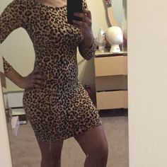 Sexy leopard pattern dress Gorgeous leopard skin patterned dress size 6 from H & M. Sleeves are three quarter length. Zipper comes down mid back as pictured. I wore it for a Halloween costume last year . In great condition! H&M Dresses Long Sleeve