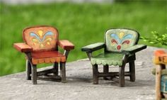 Miniature Dollhouse FAIRY GARDEN/ Lakeside Chairs Set of 2