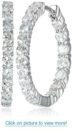 14k White Gold Diamond Hoop Earrings (2 cttw, H-I Color, I2-I3 Clarity)