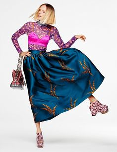 POSE OFF: Tosca gets moving in a Dries Van Noten bra top, skirt and printed shirt