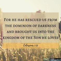 Colossians 1:13 #Bible #VerseOfTheDay #CobbVineyard #verse