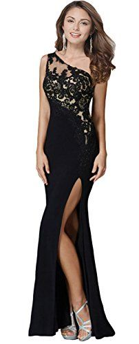3b37e96a56c7d Butmoon Womens One Shoulder Side Split Black Formal Evening Gowns US 8 >>>  Want to know more, click on the image.