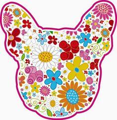 'Psychedelic Flowers', French Bulldog Illustration