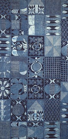 Africa | Detail from an Adire cloth from Nigeria | ca. 1970s | Cotton, plain weave.  Patterned with hand drawn starch resist, indigo dyed.