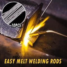Introducing The Simplest Way To Weld Aluminum Parts – No More Expensive Equipment Required! All You Need are some Easy Melt Welding Rods. No fluxes / fumes req Aluminum Welding Rods, Metal Welding, Metal Tools, Welding Flux, Led Stick, Waterproof Eyebrow, Brazing, Tips & Tricks, Shopping