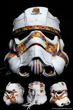 Stormtrooper helmet made with sneakers.