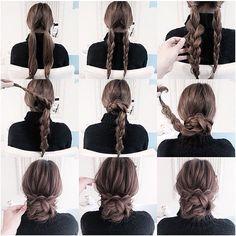 hairstyle! 簡単三つ編みシニヨン☆ 是非お試しください☆ #gスタイル#ファッション#コーデ #ヘアスタイル#ヘアアレンジ#hair #fashion#fashionista#beauty#instagood
