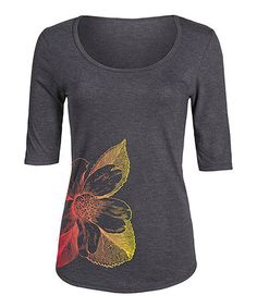 Love this Heather Charcoal Gradient Floral Three-Quarter Sleeve Tee on #zulily! #zulilyfinds