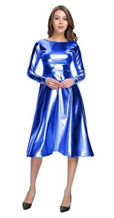 WOLF UNITARD Long Shiny Metallic Dresses For Women B07B7L25PW Metallic Clothing, Metallic Dress, Metallic Blue, Satin Cami Dress, Satin Dresses, Cute Dress Outfits, Sexy Outfits, Beautiful Blouses, Lovely Dresses