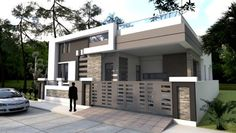 One Story House Plan Sketchup Home Design. This villa is modeling by SAM-ARCHITECT With 1 stories level. It's has 4 bedrooms. One Story House Plan Single Floor House Design, Small House Design, Modern House Design, Contemporary Design, Modern Bungalow House, Modern House Plans, Duplex House, Autocad Layout, One Storey House