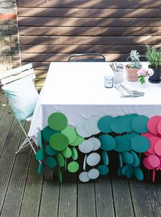 Confetti dot tablecloth - perfect for picnic tables outside!