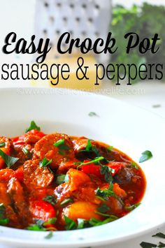 This easy crockpot recipe for sausage and peppers is mouthwateringly good! I can't wait to make it again!