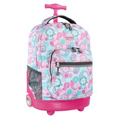 J World 18 Sunrise Rolling Backpack - Blue Raspberry Jansport Rolling Backpack, Girls Rolling Backpack, Luggage Backpack, Cute Backpacks, Girl Backpacks, Diaper Bag, Backpack With Wheels, Kawaii Accessories, Fashion Accessories