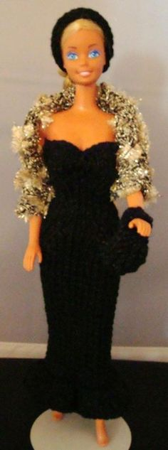 Ladyfingers - Barbie - Strapless Gown, Jacket, Hat & Purse - knit; shows variations of pattern