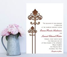 Fleur De Lis Wedding Invitation   New Orleans Wedding Invitation   Fleur Wedding  Invitation