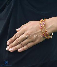 The Vanya Silver Kempu Bangles Ruby Jewelry, Gems Jewelry, Silver Jewelry, India Jewelry, Gold Bangles Design, Gold Jewellery Design, Sterling Silver Name Necklace, Diamond Bangle, Necklace Designs