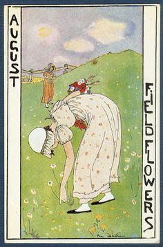 Ilustración para calendario de Rie Cramer, 1921  Serie 12 meses del año.