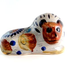 Vintage Mexican Folk Art Pottery Lion Signed by ElizaBellaVintage