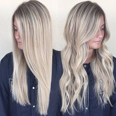 Bright and blonde with a smudged root for a naturally grow out #blondehair…
