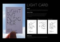 a business card for a lighting designer, clever, simple and clean, descriptive