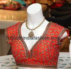 Kundan Work Designer Saree Blouse ~ Celebrity Sarees, Designer Sarees, Bridal Sarees, Latest Blouse Designs 2014