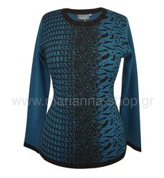 Μπλούζα pied de poule. Μπλούζα πλεκτή με χαμηλή λαιμόκοψη και μακριά μανίκια. Μήκος 60εκ., μήκος μανικιού 56εκ.50%merinos-50%acr.Ελληνική ραφή. #knitwear #jumper #womansblouse #plussize #mariannaclothing Jumpers, Knitwear, Blouses, Shopping, Tops, Houndstooth, Tricot, Blouse, Shell Tops