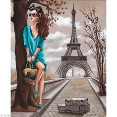 Eiffel 40 x 50 cm Illustration Parisienne, Paris Illustration, Illustrations, Art Parisien, Paris Vintage, Image 3d, Paris Wallpaper, Paris Painting, Cute Girl Wallpaper