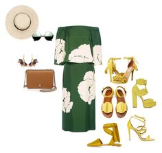 """""""Green & Yellow Action!!!"""" by la-harrell-styling-co on Polyvore featuring TIBI, Topshop, TRACEY NEULS, Aquazzura, Shoe Cult, Revo, Marni and Tory Burch"""