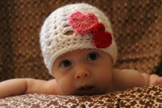 Valentine Hearts Baby Girl Crocheted Hat (white with pink and red hearts).